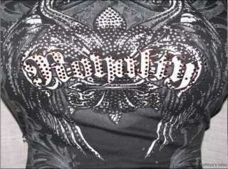 Wicked TRIBAL SCROLL Royalty Charcoal Crystal Fleur De Lis Winged Tee