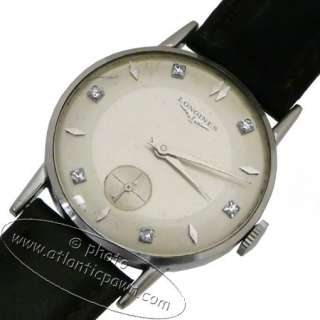 VINTAGE LONGINES 14K WHITE GOLD DIAMOND MARKERS CONTRAST DIAL