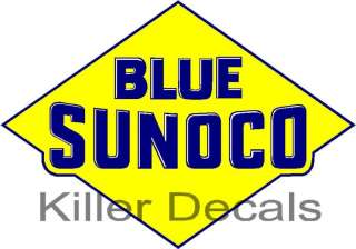 24 old BLUE SUNOCO GASOLINE GAS PUMP OIL TANK DECAL DX