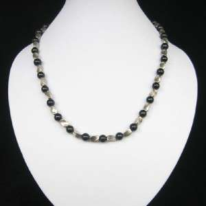 NEW IN TIBET STYLE TIBETAN SILVER ONYX NECKLACE