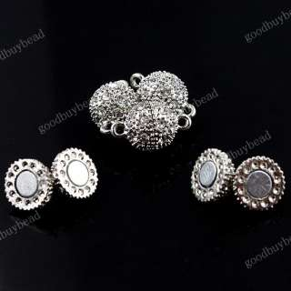 CLEAR CRYSTAL GOLD/SILVER/18KG MAGNETIC ROUND BALL CLASPS FINDINGS