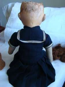 Vintage Antique Cloth & Paper Mache Doll. Signed