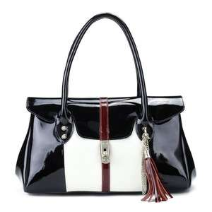 Luxury Genuine Patent Leather Designer Satchel Handbag Shoulder Bag