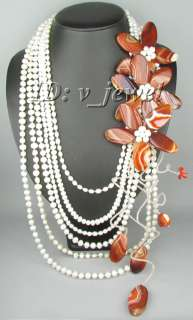 Onyx pearl coral shell flower necklace/earring set VJ