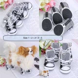 Black and White Checked Leather/PU Pet Dog Sports Boots Shoes Sneakers