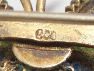 Nouveau Butterfly 79 GE Painted Filigree Enamel Pin Brooch .800 Silver