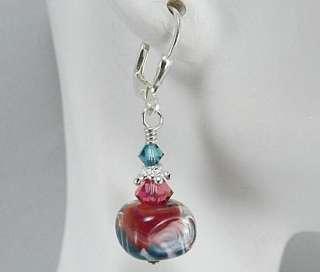 Parrot Bay, Boro Lampwork, Sterling & Crystal Earrings, Coral & Teal