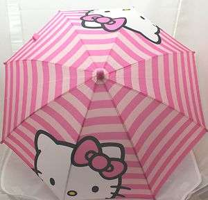 Licensed Hello Kitty KIDS Pink Stripe 3D Handle Umbrella