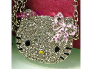 2012 years NEW hot High quality hello kitty pink bow Crystal necklace