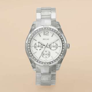 RELIC By FOSSIL STARLA Clear Strap MULTIFUNCTION SUBDIALS Watch $75