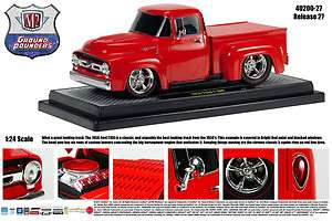 M2 MACHINES 124 SCALE CUSTOM RED 1956 FORD F 100 TRUCK GROUND POUNDER