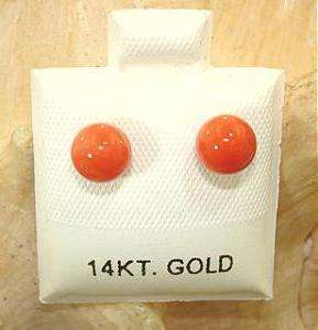 6MM ITALIAN ROUND RED CORAL 14K GOLD POST EARRINGS