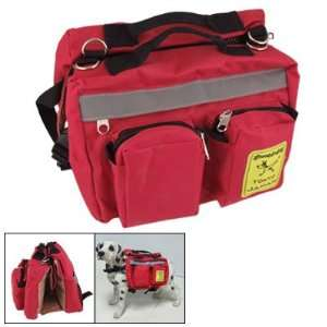 Release Buckle Zipped Dog Pet Saddle Bag Backpack Red