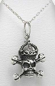 Silver Royal Skull Cross Bones Pendant Harley Necklace