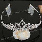 Silver Plated Crystal Bridal Headband Tiara Hair Band with 2 Comb