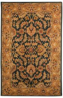 NEW Area Rug WOOL Handmade CARPET Dark Green / Gold 8 Round