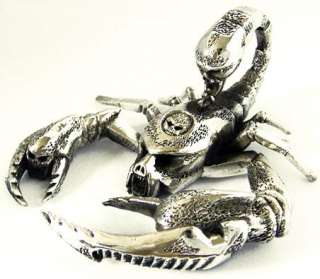 HUGE HEAVY KING SCORPION SKULL STERLING SILVER PENDANT
