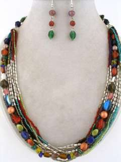 MULTI STRAND MULTI COLOR GLASS SEED BEAD NECKLACE SET