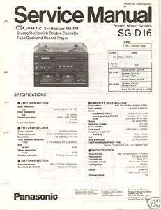 Original Service Manual Panasonic SG D16 System