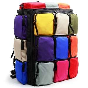 Womens Multi Pocket Travel Backpack Book bag MP9927US Black Rainbow