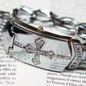 Charm Crystal Cross Silver Bracelet Bangle Women Ladies Dress Quartz