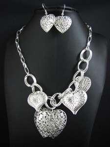 New In Silver Tone Heart Pendant Necklace Earrings Set MS1918