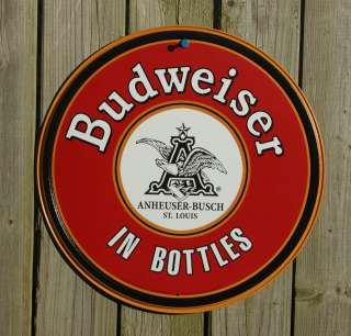 Anheuser Budweiser Beer round in Sign Garage Man Cave Bar Boles
