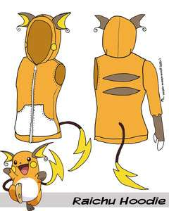 Raichu Pokemon Vest Hoodie Made To Order