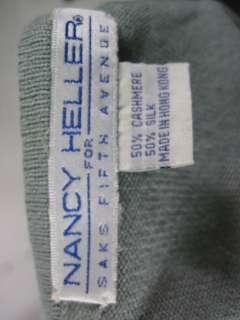 NANCY HELLER Green Cashmere/ Silk Blend S/S Sweater
