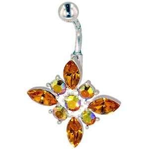 Belly Navel Ring Iridescent Orange Crystal Flower Belly Navel
