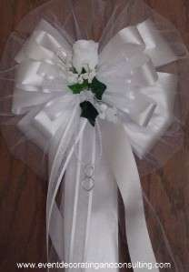WHITE ROSE Satin Edge Ribbons Pew Bows for Weddings