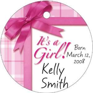 Baby Keepsake: Its a Girl Gift Wrap Design Circle Shaped Personalized