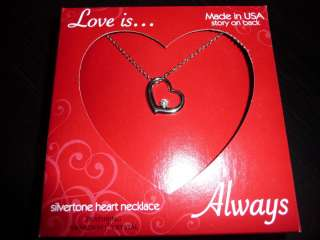 Love isAlways Necklace Heart Swarovski Crystal 18