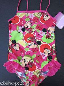 NWT Girls Disney Minnie Mouse One Pc Swimsuits Sz 3T 6T