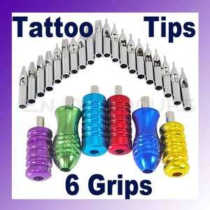 20Pcs Tattoo Supplies Grips Stainless Steel Tips Nozzle