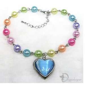 Dog Blue Heart Locket Necklace