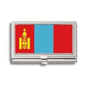 Mongolia Mongolian Flag Business Card Holder Metal Case