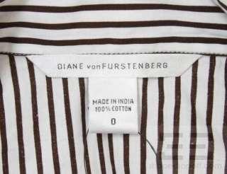DVF Diane von Furstenberg White & Brown Cotton Striped Wrap Dress Size