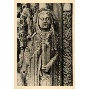 1937 Veiled Woman Book Sculpture Chartres Cathedral Art