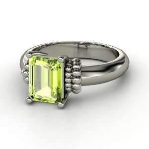 Beluga Ring, Emerald Cut Peridot Sterling Silver Ring
