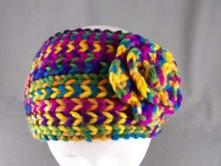 Bright multi color flower ear warmer muff knit head wrap hat headband