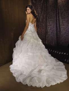 White/Ivory Bubble Embroidery fold Flower train Wedding Dresses