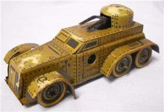 1930s WIND UP / CLOCKWORK TINPLATE GERMAN ARMOURED CAR / PANZER WAGON