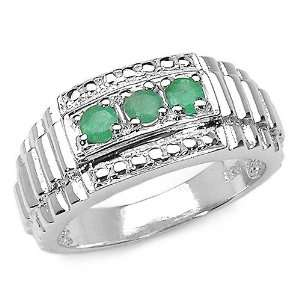 0.30 Carat Genuine Emerald Sterling Silver Ring Jewelry