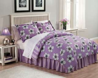 Purple White Flower KENDALL Bed Bag Bedding Comforter