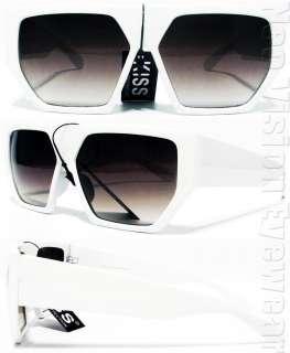 Oversized Flat Top Wayfarer Sunglasses Smoke White K40