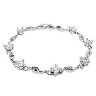 Lady Fashion Jewelry Fine Clear Topaz White Gold GP Tennis Bracelet
