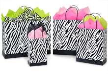 ZEBRA STRIPE PRINT PAPER GIFT / SHOPPING BAGS (150 ASSORTMENT SIZES