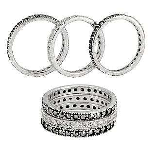 Sterling Silver & Marcasite Crystal 3 Ring Set  Victoria Crowne