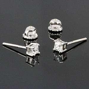 3mm Screw Back Russian Ice Princess Cut CZ Stud Earrings 925 Silver 0